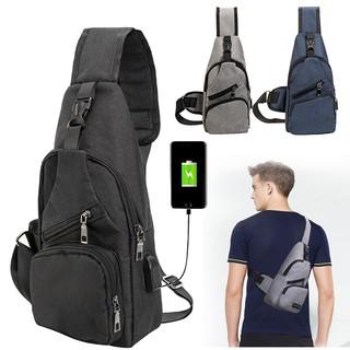 External USB Charge Backpack Chest Pack Casual Men Travel Shoulder Bag Beg Bags