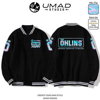 Áo khoác Bomber Varsity UMAD unisex nam nữ Ohlins hiệu ứngTitan siêu đẹp chống nắng vải nỉ 95% cotton, 5% spandex