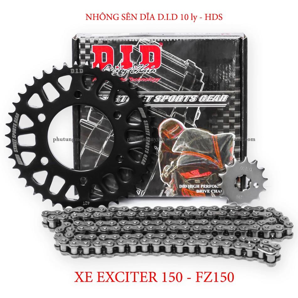 Nhông sên dĩa xe Exciter 150 , Fz150 sên DID 10 ly HDS