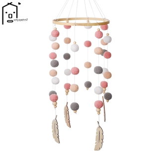 Baby Crib Nursery Mobile Bamboo Wind Chime Nursery Decoration Baby Bedroom Hanging Bed Bell Toys (Pink)