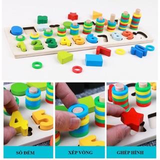 Đồ chơi gỗ – Bảng số + hình tập đếm