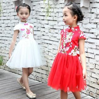 Đầm xòe tay ngắn thêu hoa phong cách Trung Hoa dành cho bé