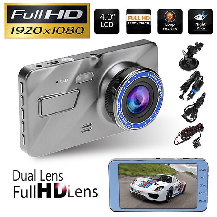 [ Tặng thẻ 0GB-32GB ] Camera hành trình ô tô trước sau Full HD 1080P, ống kính kép siêu bền