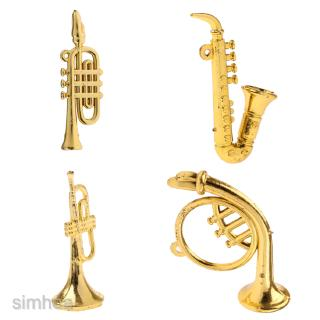 4pc Miniature Music Instrument Bend Bass/Saxophone for 1/12 Doll House Decor