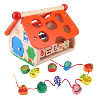 Punkstyle Baby Cognitive Toy, Wooden House Shape Number Color Cognitive Educational Toy Sorting Puzzles Toys Shape Sorte