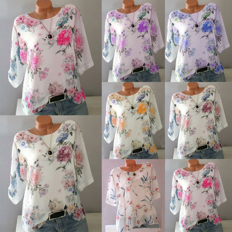 Women Plus Size Floral 3/4 Sleeve Loose Blouse Ladies Round Neck Tops T-Shirt