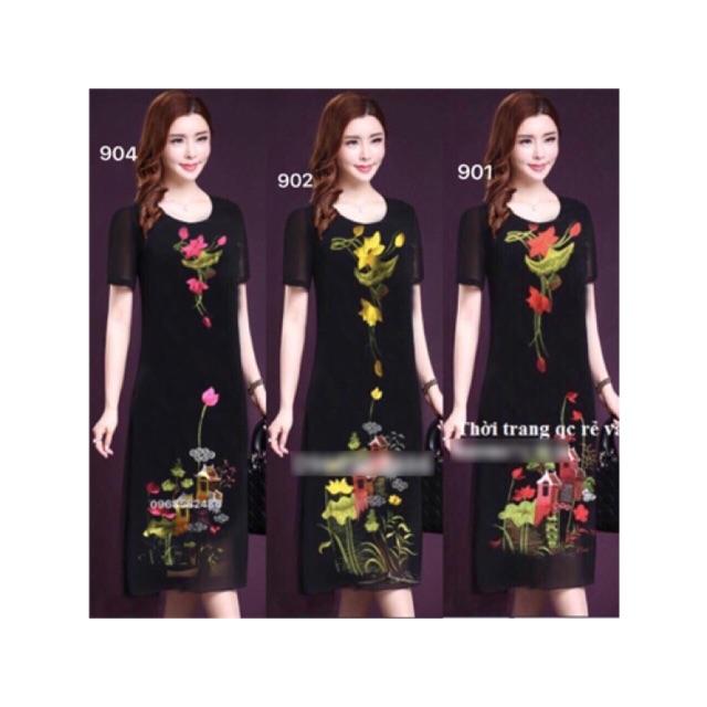 Đầm trung niên hoa sen cao cấp size xl 2xl 3xl