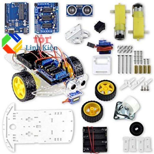 (Kèm code) Bộ xe Robot thông minh tránh vật cản 2 - Arduino Uno, Shield  L293D