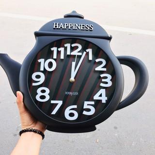 Đồng hồ treo tường hình ấm trà ( đen)
