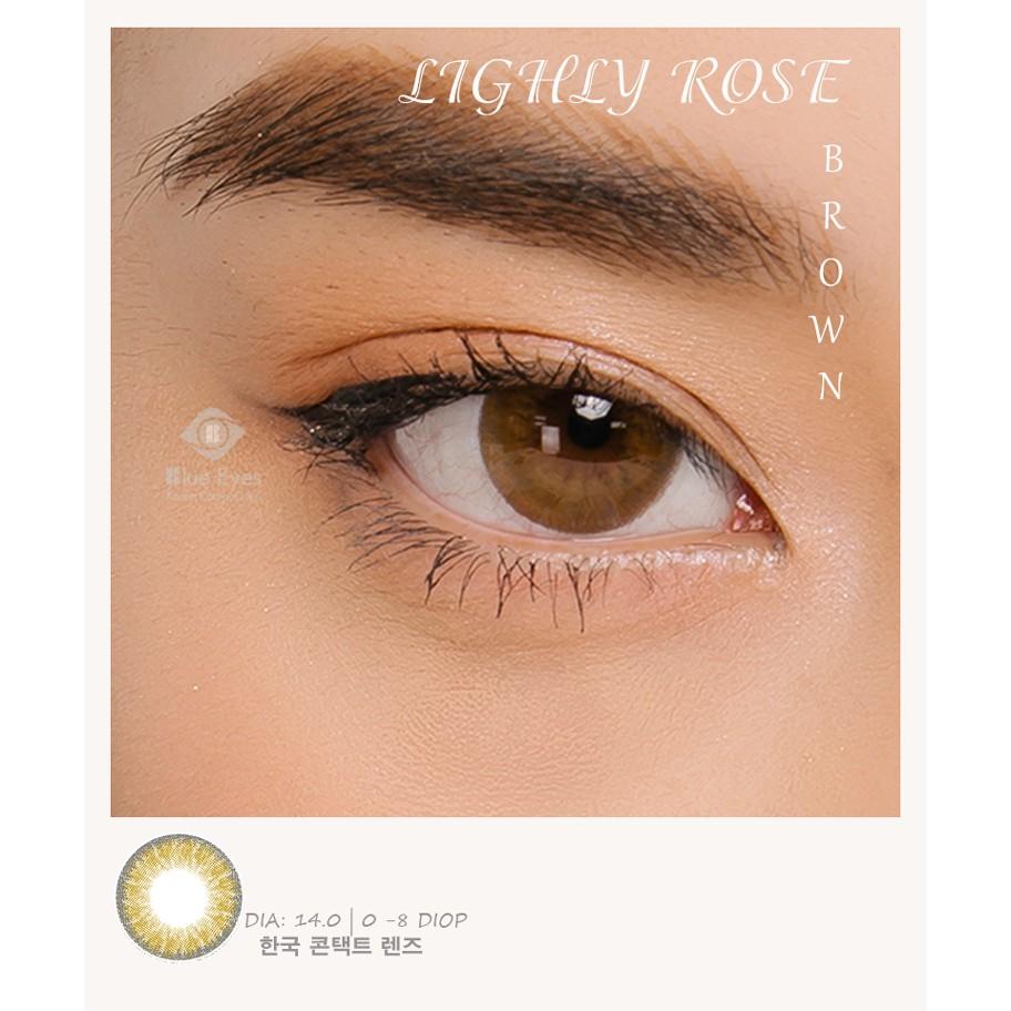 Lens mắt Hàn Quốc chính hãng LENLIGHLY ROSE- NÂU-XÁM- (Độ cận từ 0-8)