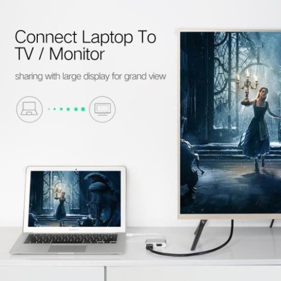 [Mã 267ELSALE hoàn 7% đơn 300K] Cổng Chuyển Đổi Mini DisplayPort Sang HDMI + VGA Ugreen 20421
