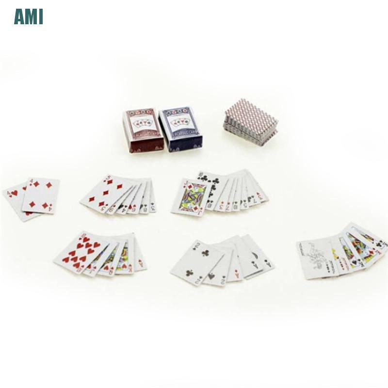 [D] 1Set 1:6/1:12 Dollhouse Miniatures Accessories Playing Card Poker Home Bar Decor (ghg)