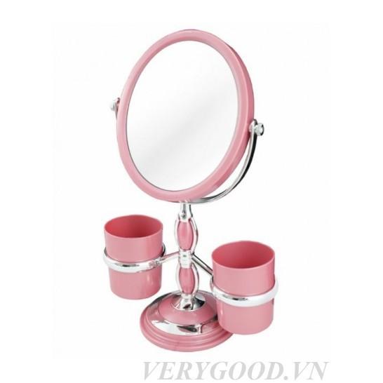 Gương trang điểm để bàn xoay 360 kèm cốc hồng