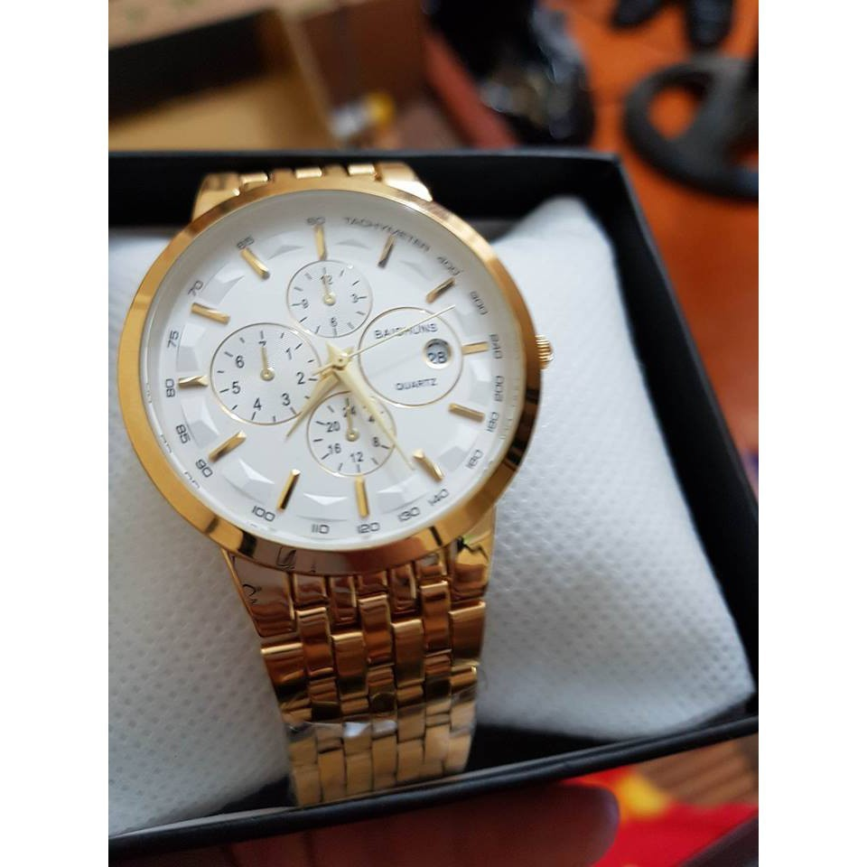 Đồng hồ nam Baishuns khung thép mặt trắng mạ vàng cao cấp - Đồng hồ Đồng hồ kim-điện tử