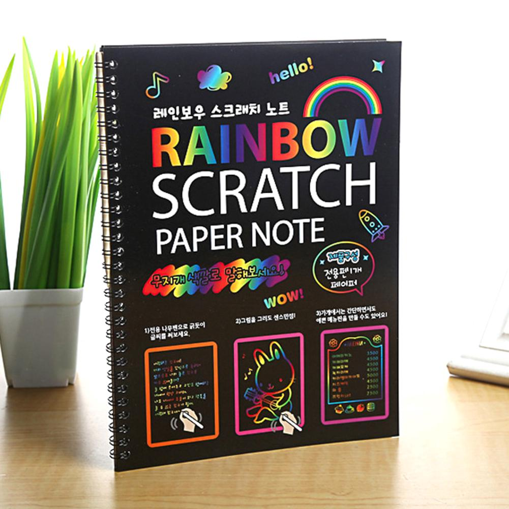 Painting Cute Drawing Magic Kids Black Page DIY Notepad Notebook Stationery Graffiti