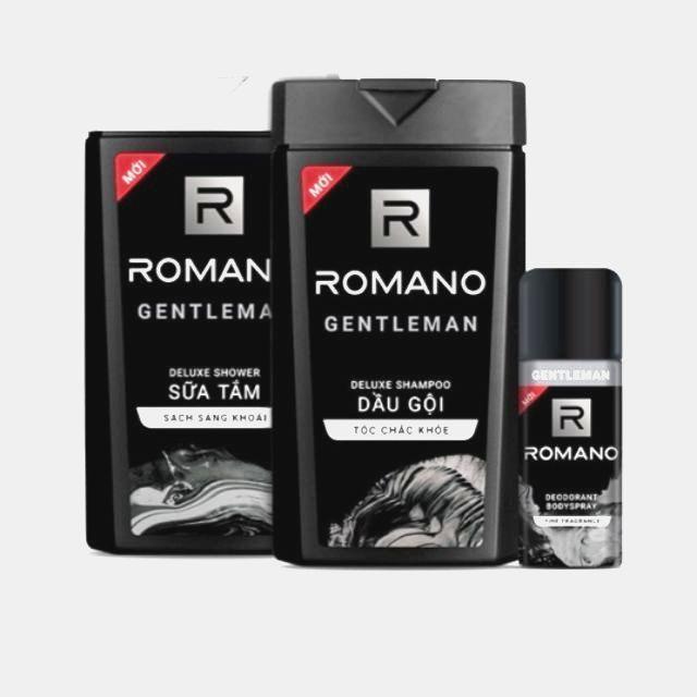 ROMANO_COMBO BỘ 3 CHAI DẦU GỘI-SỮA TẮM 180G VÀ XỊT KHỬ MÙI 150ML.