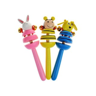 Baby Toys Rattles Cartoon Wooden Activity Bell 1Pcs Random