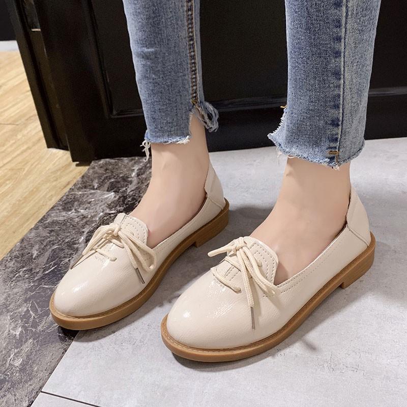 [hàng mới về] Giày Lười Nữ B58 Da Bóng/ Retro/ Buộc Dây/ Đế 3cm