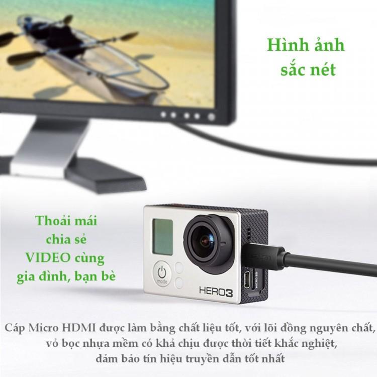 Cáp chuyển đổi micro HDMI đực sang HDMI cái dài 20cm UGREEN 20134 (màu đen) - Hàng chính hãng bảo hành 12 tháng