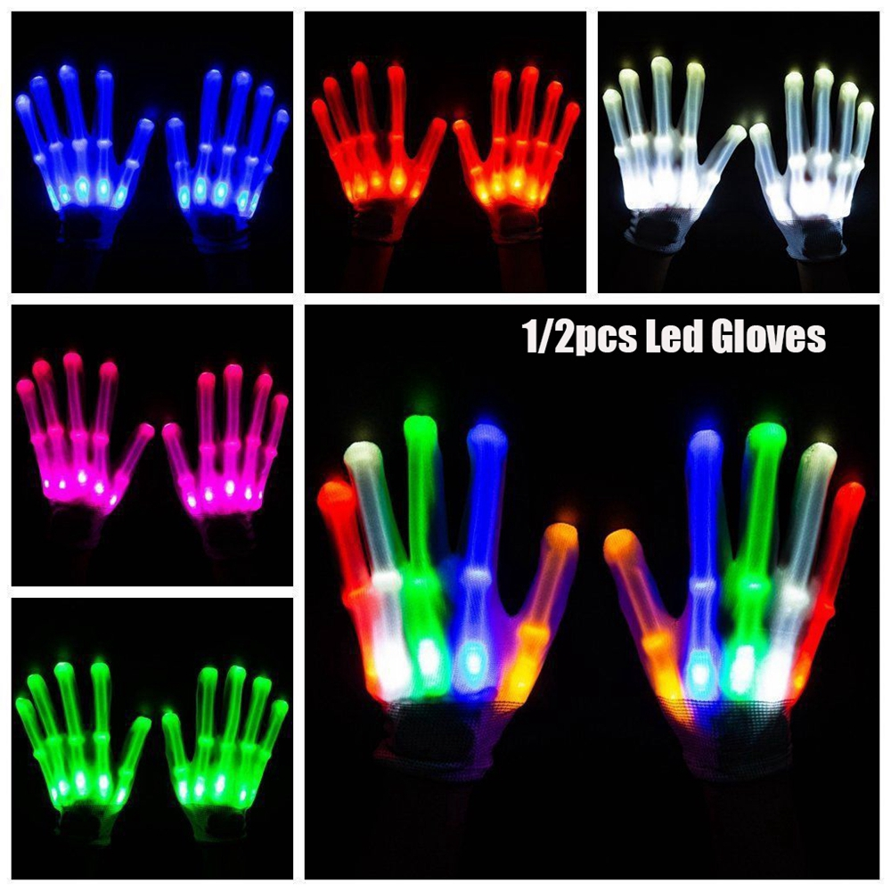 1/2pcs Colorful Creative Festive Party Supplies Xmas Dance Rave Luminous Flashing Glove