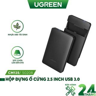 Hộp đựng ổ cứng 2.5 inch USB 3.0 lót đệm cực kì chắc chắn, vỏ ABS bền bỉ dạng Enclosure, chuẩn SATA UGREEN CM135 50208