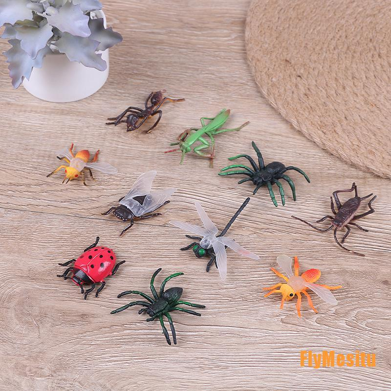 Fly❀10 Assorted figure realistic bugs plastic insects kisd party bag filler toy
