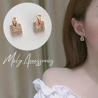 Bông tai hình vuông nhỏ đính đá xinh xắn mạ vàng kiểu dáng nhẹ nhàng nữ tính - Mely 1464 thumbnail