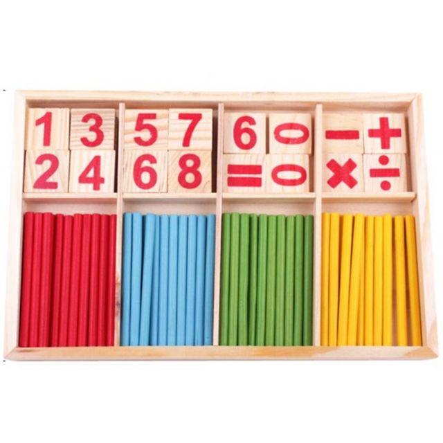 Bộ que tính toán học bằng gỗ nhiều màu cho bé - bộ que gỗ TLTT0001