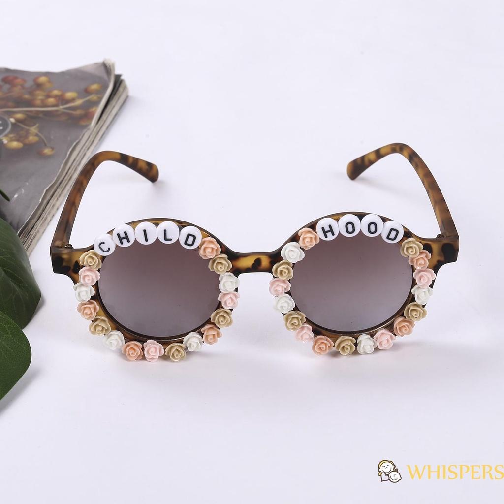 WHISPERS-Kids Beach Sunglasses Flower Letter Frame UV400 Protection Sunglasses