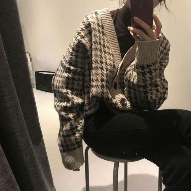 (Có sẵn)Áo len nữ cổ V houndstooth retro ul
