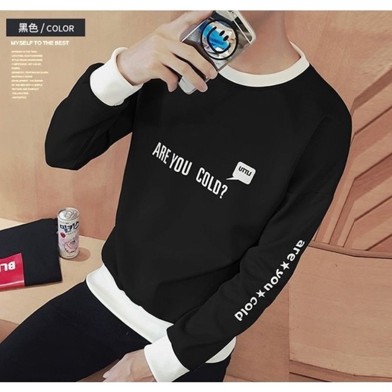 Autumn couple slim long-sleeved Top Korean version head print sweater