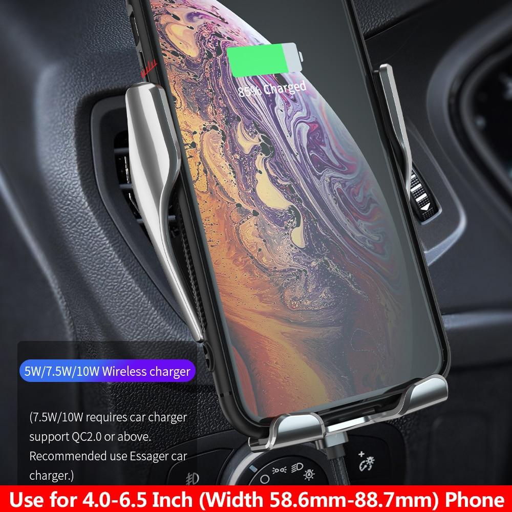 Đế Sạc Xe Hơi Không Dây Essager 10W Qi Tốc Độ Nhanh Kiêm Giá Đỡ Cho Iphone 12/11
