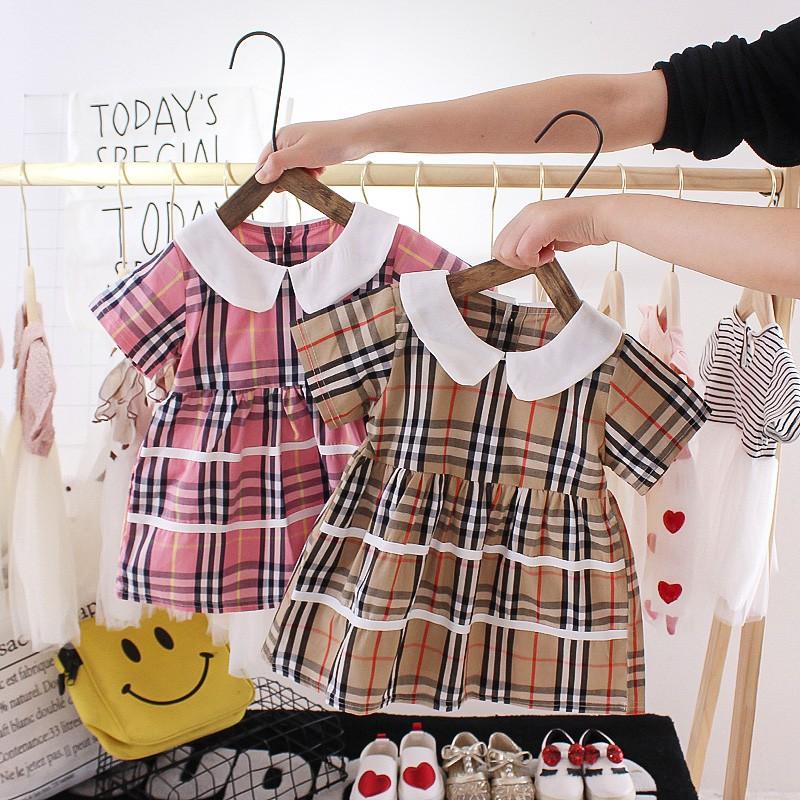 Đầm caro ngắn tay thời trang hè xinh xắn cho bé gái 1-3 tuổi