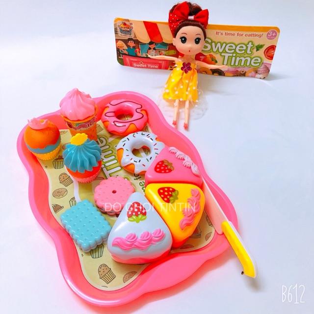 [siêu ĐẸP – tặng BÚP BÊ] Đồ chơi khay bánh kem màu Hồng
