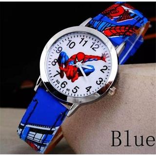 [ảnh thật] (cam, xanh) Đồng hồ hình người nhện dây da PU cho bé trai - Đồng hồ đồ chơi cho bé trai thumbnail