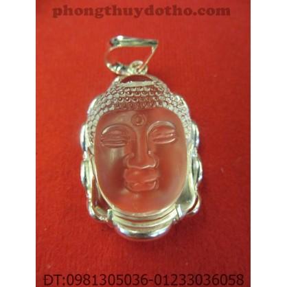 Mặt dây chuyền – Phật Tổ đá màu trắng bọc bạc (4,5 x 3 cm)