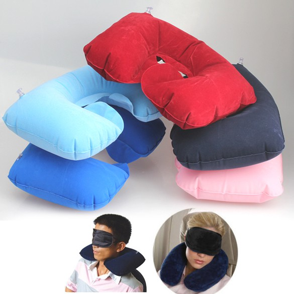 Inflatable Travel Flight Pillow Ne U Rest Air Cushion+ Eye Mask+Earbuds
