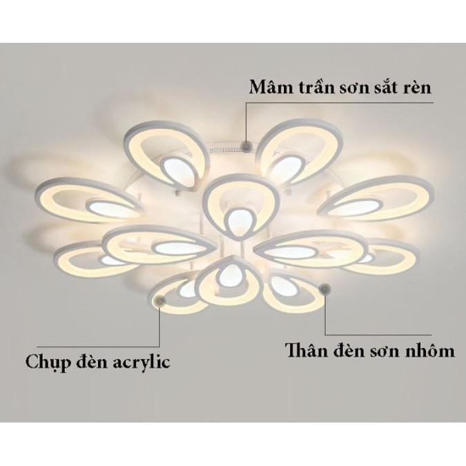 Đèn trần - đèn LED ốp trần - đèn trần trang trí 12 cánh nhụy hoa hiện đại