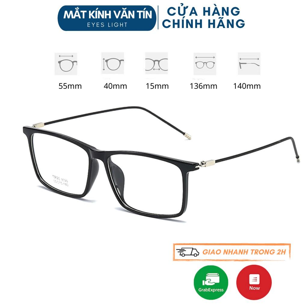 Kính mắt giả cận Eyes Light T8095 nữ gọng kính cận mắt vuông càng nhựa pha kim loại