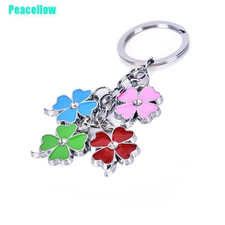 Peacellow Lucky Four Leaf Clover Keychain Metal Keyring Green Shamrock Women Men Gifts