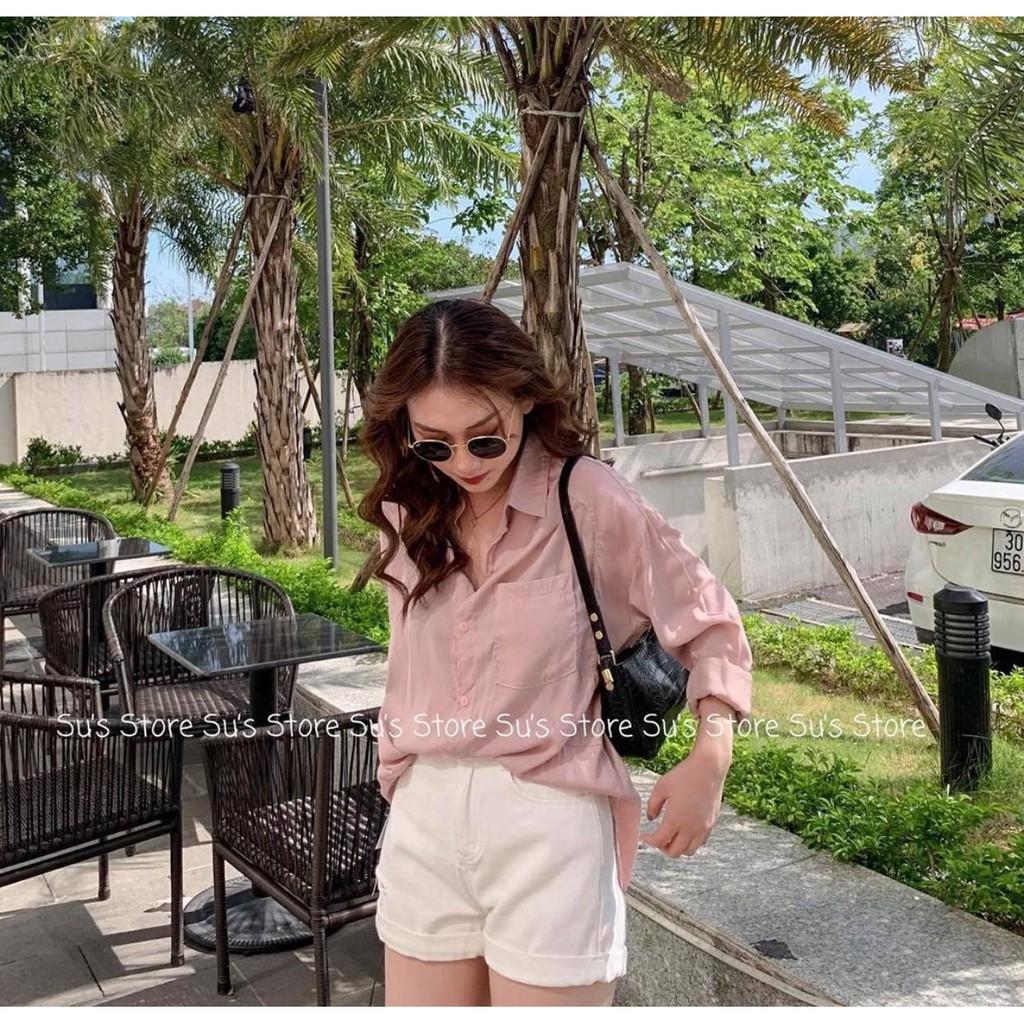 Áo sơ mi đũi form rộng nữ [FREESHIP] 🌸 So mi túi ngực dài tay ulzzang màu Trắng   Hồng kiểu dáng Korea SIÊU HOT 🌸
