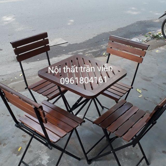 Bộ bàn ghế gấp lan gỗ - bộ bàn ghế cafe lan gỗ fansipan ( 1 bàn - 4 ghế)