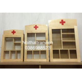 Tủ y tế kt 30x47x9. Tủ thuốc gia đình gỗ cây chắc chắn
