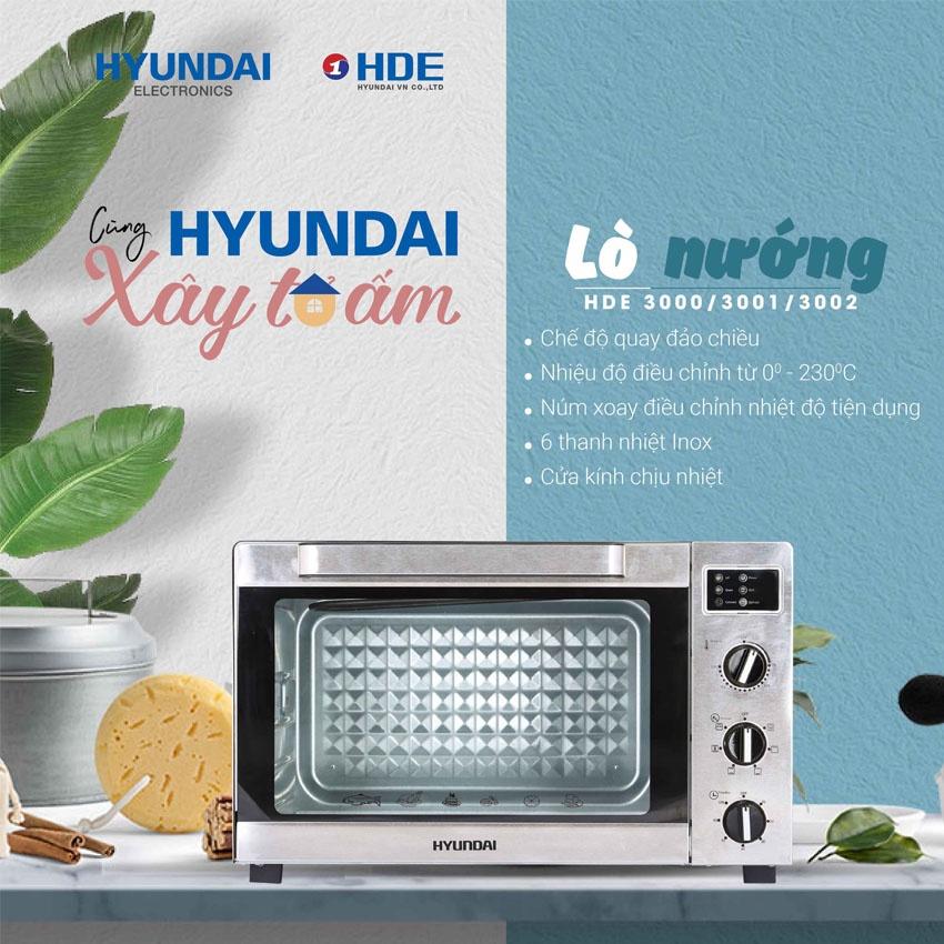 Lò nướng điện Hyundai HDE 3002S 30L/35L/45L - Hàng Hyundai chính hãng - Bảo hành 12 tháng - LAG Store HN