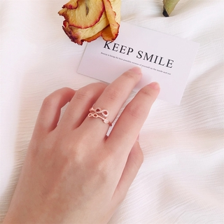 【COD】 Creative Number 8 Micro-inlaid Heart-shaped Ring Japanese Korean Fashion Trendy Infinite Love Ring Adjustable Opening