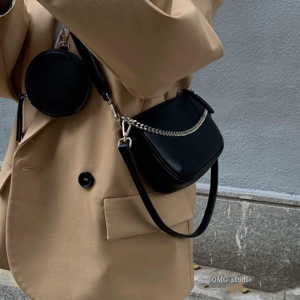 (Hàng loại 1) Túi kẹp nách nữ đeo chéo 5 chi tiết KR 326- Gồm túi mini và 3 dây đi kèm, Da PU cao cấp, Size 28- KARA 326