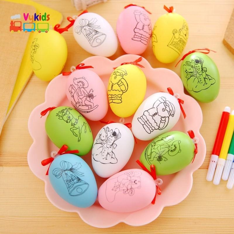 Tranh Tô Màu Quả Trứng Nhiều Hình Bắt Mắt Tặng Kèm Bút Vẽ VK08