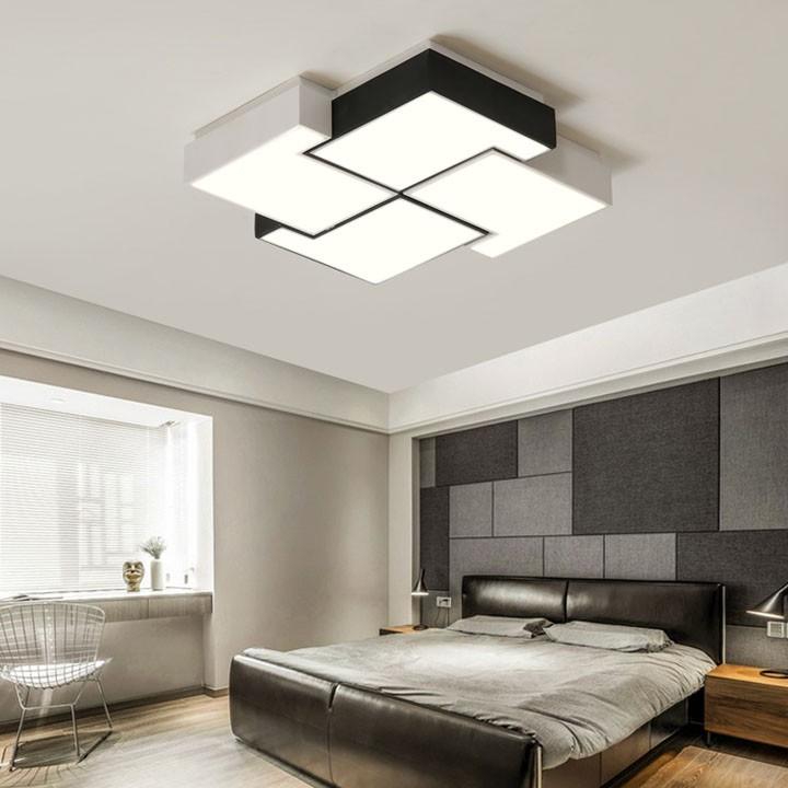 Đèn led ốp trần chữ L trang trí phòng ngủ, phòng khách có điều điều khiển Mẫu đèn led ốp trần phòng ngủ đẹp hiện đại