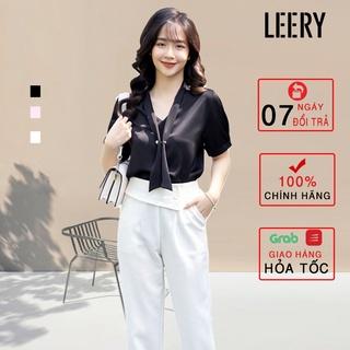 Áo kiểu ngắn tay nữ văn phòng chất lụa cao cấp Hàn Quốc SM-07 - LEERY thumbnail