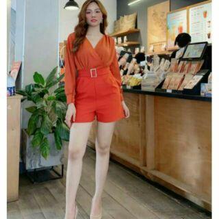 SJ783 Jump short áo cổ đắp chéo tay xẻ khoá eo cao cấp